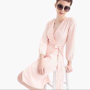 J. Crew Pink Wrap Dress 365 Crepe Tie Waist NWT